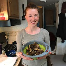 Solène with a bowl of morels