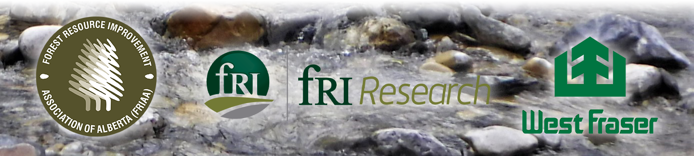 FRIAA, West Fraser, and fRI Reserach logos on a stream picture