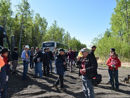 The location was north of Grande Prairie in the Spirit River area. Attendees were taken by bus to get a hands-on tour of some active MPB research.