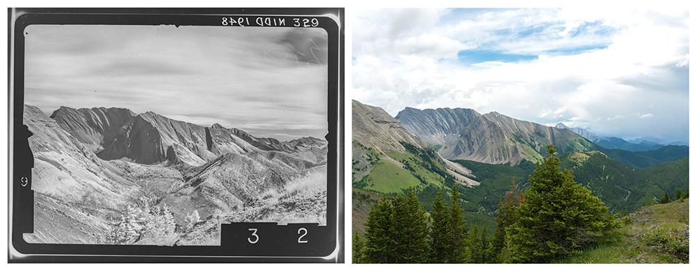 A century of change from atop the same peak.