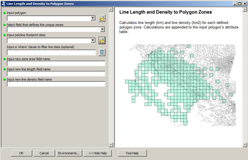 "Screenshot of the ""line length and density to polygon zones"" tool"