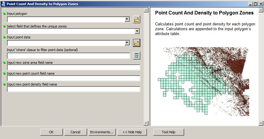 "Screenshot of the ""lpoint count and density to polygon zone"" tool"