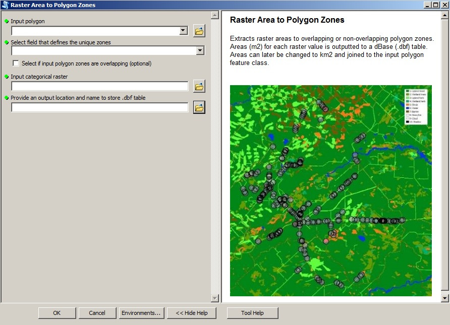 "Screenshot of the ""Raster_Area_To_Polygon_Zones"" tool"