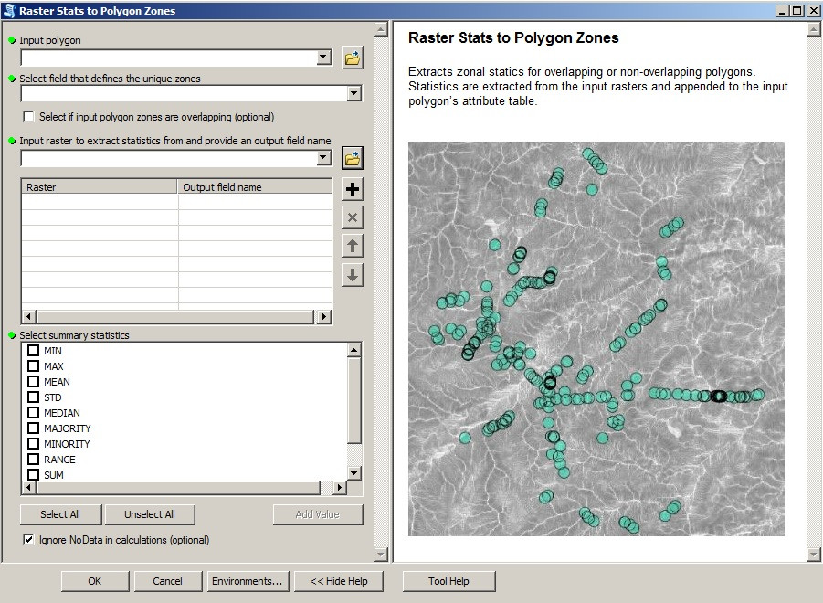 "Screenshot of the ""Raster_Stats_To_Polygon_Zones"" tool"