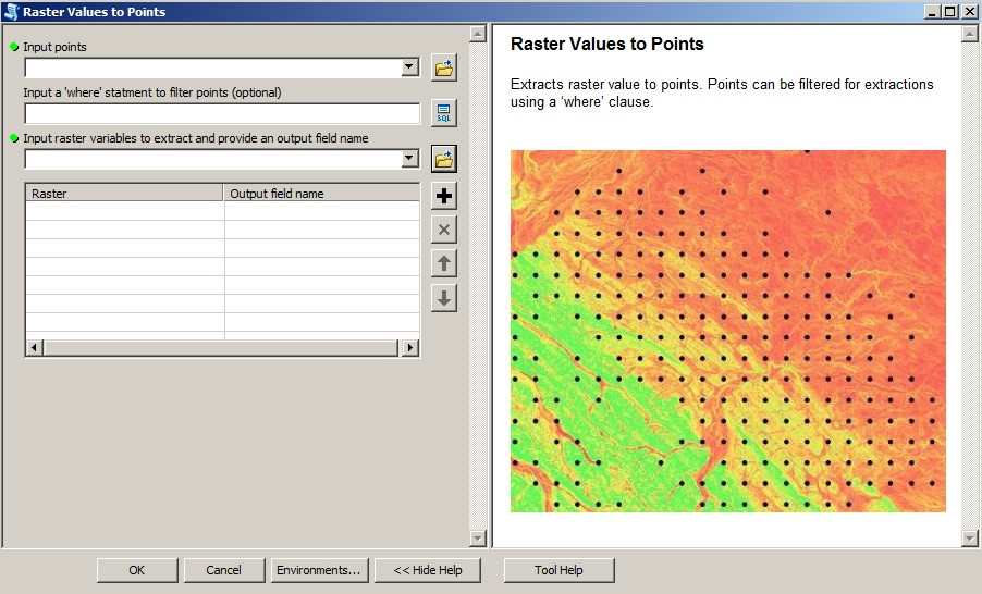"Screenshot of the ""Raster_Values_To_Points"" tool"