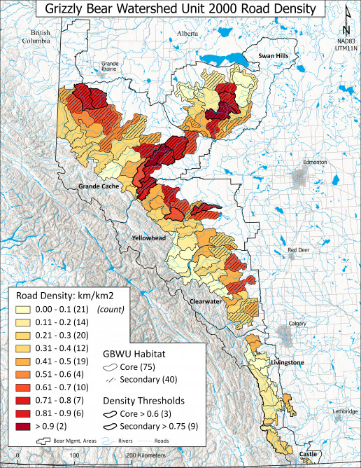 Map of road densities in grizzly bear watershed units, in the year 2000.