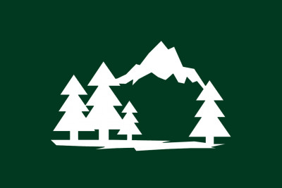 Two-tone icon of mountains and forest