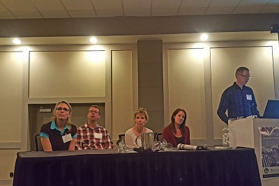 """Panel on """"What is changing at the landscape/ecosite level."""" From Left: Dr. Justine Karst, Dr. Axel Anderson, Dr. Ellen Macdonald, Dr. Laura Finnegan, and moderator John Stadt."""